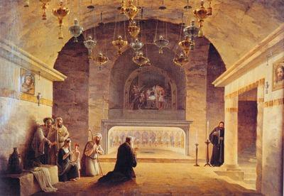 Пещера Рождества Христова в Вифлееме. 1833 г. Худож. М.Н. Воробьев (ПИАМ)